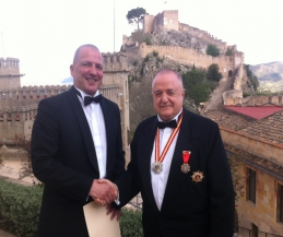 Caballero Emery (Pictured with) General Santiago Sanchis Commander of the Order.  Kickboxing Peace Fighter is honoured with a Knighthood. Saturday 22nd March 2014.