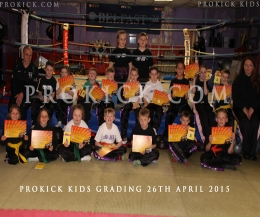 Some of the ProKick Kids graded - A grading is when Kickboxing students, non-contact and contact, are assessed through a series of levels / grades,
