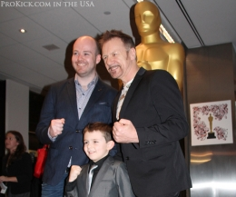 Michael Lennox is centre stage in LA, accompanying him at the glitzy reception was child actor Riley Hamilton and Billy Murray.