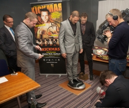 You are all invited to the KICKmas 2013 weigh-ins - Pictured here 11th Nov Face-off with Hamilton and Zhara