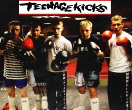 ProKick's teenage high kickers pictured, Left-right: Cameron Dickson, Jamie McCusker,  George Eyre, ( sparring partner Jake McCready)  and Killian Emery