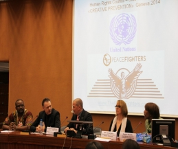 Dr. Ariel  R. King, Pictured (far right) invited Swiss born Carl Emery and Belfast's Billy Murray to talk at the United Nations, 25th UN Human Rights Side Event, 7th March 2014.