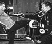 Our 2nd #video on #basic #ProKick pad drills for #beginners is instrusted by #BillyMurray and demonstrated here in picture by #JohnnySwiftSmith kicking both from prokick.com