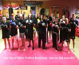 it was the final day of Billy's ProKick Bootcamp 2017 - and It all Kicked-started Monday 29th May with a no-nonsense fitness regime which is tried, tested and works!
