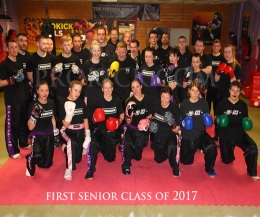 Martial art fighters from Green to Black belters all work together every Tuesday & Thursday at the ProKick senior classes