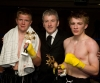 Sponsor Brendon Thompson (Middle) congratulates both young tallents for a nice fight - David Bird (ProKick, Belfast) right and Dylan Moran Winner Points (Waterford) on the left side