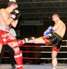 Barrie Oliver in kicking action - as three of Northern Ireland's brightest kickboxing hopes Ian Young, Barrie Oliver and Mark Bird facined one of the toughest tests of their careers.