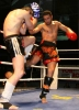 Jamal Wahib from France in action in kickboxing Switzerland - lands his own hard low kicks to Belfast's Ian Young