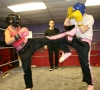 Lauren Sparring in Belfast at ProKick when the Hitman brought them on a day trip for training