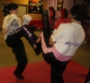 ProKick members Anna Mallon and Pauline Goody team up on the level 1 sparring course first night.