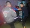 ProKick members Stuart Kyle and David Malcolm team up on the level 1 sparring course first night.