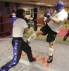 ProKick members Jonny Wightman and Russell Johnston sparring on the final evening of ProKick HQ's Level 2 Sparring Class
