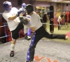 ProKick members Jonny Wightman and Russell Johnston sparring on the final evening of ProKick HQ's Level 2 Sparring Class.