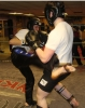 ProKick members Jonny Wightman and Michael O'Neill sparring on the final evening of ProKick HQ's Level 2 Sparring Class.