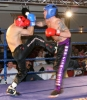 Adriam moat counters a kick from Swiss fighter Boscarino