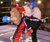 Back kick Just missed Belfast's Robert McNeill In their bout at the Hilton Hotel with Swiss Fighter Hakim Benhounette