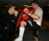 Alex Reid practises some knee work on the pads at the ProKick kickboxing gym in Belfast