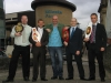 James Gillen, Gary Hamilton, BBC's Joe Lindsay, Darren Dougan and Ian Young with the Kickboxing belts that are up for grabs