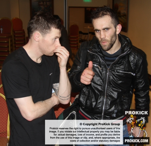 ProKick fighter congratulating his opponent after the event in Nicosia, Cyprus on 9th March 2012.