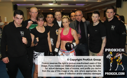 ProKick fighters with opponents after the event in Nicosia, Cyprus on 9th March 2012.