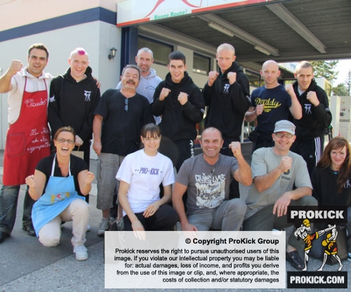 The ProKick team just after landing in Switzerland and now ready to set off for La Chaux-De-Fonds