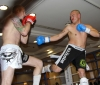 ProKick fighter Darren McMullan narrowly dodges a hard kick from opponent Barry Haberland from Holland.