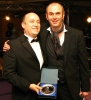 ProKick Kickboxing Pilot Club of the Year – Falls LC - Alec Crowe with the dinner host and TV favourite Joe Lindsay
