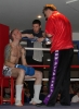 ProKick's Darren McMullan listens in to coach Billy Murray during his K1 style match on 25th February 2012 in Staines, Essex.