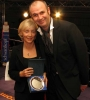 Dr Carole Presern receiving Acknowledgement award for supporting the Sport of Kickboxing from Joe Lindsay