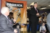 Northern Ireland First Minister Peter Robinson delivering his speech at ProKick HQ.