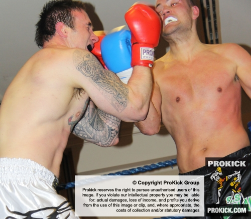 Heavyweight actionn at the Hilton hotel Belfast as Paul Best and Glenn Coen clash in the ring at the ProKick Awards night.