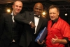 Lifetime Achievement Award handed out to kickboxing living legend Ernesto Hoost - L-R Joe Lindsay Mr Perfect and promoter Billy Murray