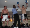 ProKick's Johnny Smith lands wins his first competitive boxing match on 25th February 2012 in Staines, Essex.