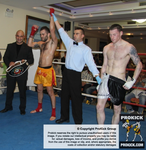 ProKick fighter Johnny Smith doesn't get the decision in his title fight at the event in Nicosia, Cyprus on 9th March 2012.