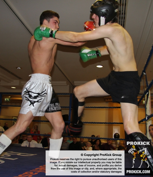Karl McBlain in kickboxing action at the Hilton hotel in belfast
