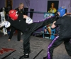 Stuart jess Kicks high at the prokick gym's heavy sparring night