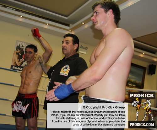 ProKick fighter Peter Rusk doesn't get the decision at the event in Nicosia, Cyprus on 9th March 2012.