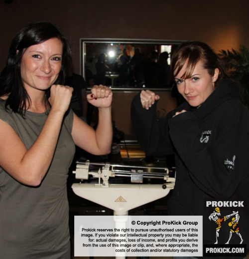 ProKick's Stefanie McMullen weighing in against opponent laeticia Mauerhofer