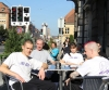 The Prokick fighters soaking up the sunshine outside the restaurant upon their arrival in Switzerland