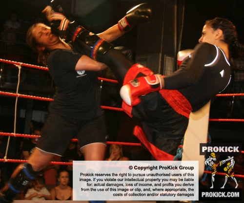 Action from the bout between Lucienne Desira Malta (left) 61,5kg Vs Nora Anwer 61.5kg MOHAMED Swelem from Egypt kicking