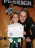 Davy Foster with daughter Kirsty age 7 after she was awarded her blue belt in the style of ProKick kickboxing, That's my girl, said Kickboxing instructor Foster