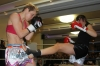 ProKick fighter Ursula Agnew in action at the event in Nicosia, Cyprus on 9th March 2012.