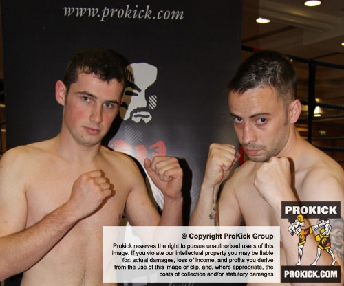 Carl Wilson (ProKick NI)  came face-face with David Fisher (Black Dragon Galway)