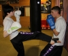 ProKick member Anna Mallon with one of her team mates sparring at ProKick HQ