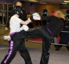 ProKick members Amy-Lee Tonner and Anna Mallon sparring on the final week of ProKick HQ's level 1 sparring course.