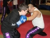 ProKick member Bailie McClinton with one of his team mates David Filer sparring at ProKick HQ