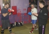 Level 1 sparring course members Jamie Stinson and Peter O'Sullivan being instructed by ProKick Head coach Billy Murray.