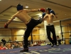 Carl Wilson (ProKick NI) kicks out at David Fisher (Black Dragon Galway) at the Hilton Hotel Belfast