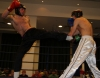 ProKick fighter Darren McMullan lands a hard left roundhouse against Swiss opponent Jeremy Jossi