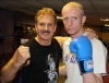 Prokick fighter Darren McMullan with friend of Billy Murray's (all the way from Thailand) Stephen Brown at last night's sponsored 'spar-a-thon'.